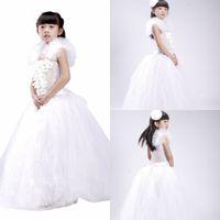 2015 New Real Fotos balon vestido muchachas de flor # 039; Vestidos de la princesa encantadora Little Girls vestido de fiesta formal de los vestidos de los bebés para la boda MYD1023