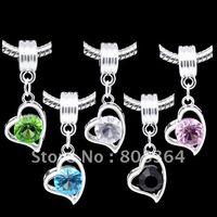 Wholesale Mixed Rhinestone Heart Dangle Beads Fit Charm Bracelet x12mm W01052 X
