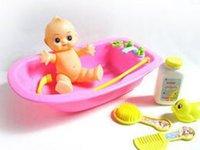 bath tub boy - Cute Baby Bath Water Toy Girls Boys Swimming Beach Gifts simulation baby tub doll Toy Pink Blue