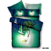 3d holiday gifts - piece Cotton d ocean blue bedding sets duvet cover set SUMMER HOLIDAY queen king size ocean bed sheets gift