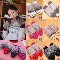 Wholesale New Arrivals Women Ladies Gloves Mittens Cute Beauty Cartoon Hedgehog Knitting Winter Warmer EA36