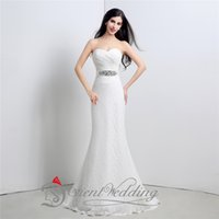 Wholesale 100 Real Image Mermaid Lace Sweetheart Crystal In Stock Wedding Dresses Bow Ribbon Wedding Gowns New Arrival