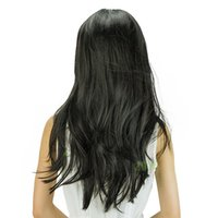 big black clips - wigs cosply Black blonde Womens Long Straight Full Hair Clip Wigs Cosplay Human Hair Wig curly Hair natural colors NMFFM