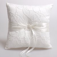 Wholesale Square x19cm Flower Lace Satin Ring Bearer Ring Pillow Wedding Ceremony Accessory Bridal Ring Bearer Pillow