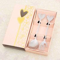 Wholesale Creative gift stainless steel lovers heart shaped fork spoon suit fashion tableware boutique Wedding Favor Dinnerware Sets