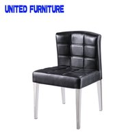 Wholesale Modern Dining Room Chair Chromed Stainless Steel Base Dining Chair Black Leather white leather Dining Chair