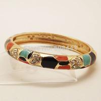 achat en gros de bracelet en or d'émail antique-Cloisonné vintage gros-BR245 Bohême or antique chinoise Tortue émail avec des bijoux en cristal Bracelet manchette pour les femmes filles
