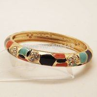 antique cloisonne jewelry - BR245 Bohemia Antique Gold Chinese Cloisonne Vintage Turtle Enamel With Crystal Bracelet Bangle Cuff jewelry for women girls