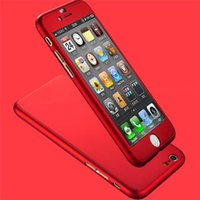 Wholesale For iPhone SE S S Plus Luxury Hard PC Case For Iphone Plus S S Plus Clear Tempered Glass Screen protector Degree Coverage case