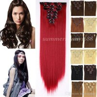 Wholesale Factory Price Long NEW clip in hair extensions Full Head Real quality Synthetic hair piece Sexy Women Lady Any Colors A5