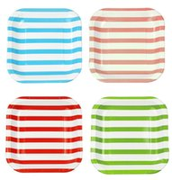 Wholesale 60pcs cm Multicolor Squares Plate Family Party Tableware Supplies inches Striped Paper Plates