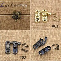 antique latch - 1X New Antique Decorative Wine Wooden Box Hasp Latch Hook With Screws DIY Gift