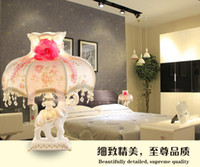 bedside table lamp shades - High Grade European Style Reading Bedside Table Lamp Resin Table Lamp Fabric Lamp Shade Iron with Led Lighting for Bedroom