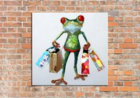 Wholesale Handmade Abstract Happy Mr Frog Art Oil Painting On Canvas For Living Room Decor Hang Group Of Paintings