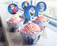 Wholesale Frozen Event Cupcake Wrappers Elsa Anna Princess Kristoff Cup Cake Toppers Picks Kids Birthday Supplies Party Favors Party Decorations