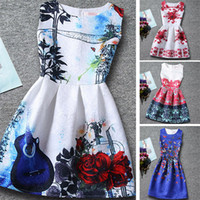 american kids butterfly - New Big Girls Butterfly Printed Dresses Summer Children Princess Party Sundress Sleeveless Dancing Bride Wedding Dress Kids Clothes SZ16 A4