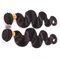 Wholesale Peruvian Malaysian Indian Brazilian hair bundle g each remy virgin hair extension body wave natural black B human hair weave