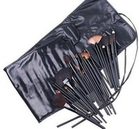 Horse Hair cosmetic black up - TOP Quality Professional Cosmetic Facial Make up Brush Kit Wool Makeup Brushes Tools Set with Black Leather Case