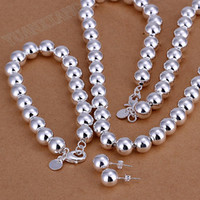 Wholesale fashion jewelry sterling silver pendant necklace fine bead MM sets