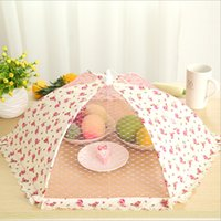 Wholesale 2015 New Dining table food cover hexagon folding food leaf mustard umbrella lace decoration food Dust cover