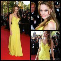angelina photo - Angelina Jolie Yellow Sexy Evening Dress Chiffon V neck Spaghetti Draped Sweep Train Party Gowns