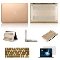 laptop protective film - 3 in Gold Hard Shell Protective Matte Cover Case Keyboard Protector LCD film For Macbook Air Macbook Pro Retina13