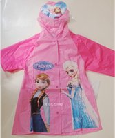 plastic raincoat - 4 sizes Frozen poncho Anna elsa kids girl boy cute hooded waterproof raincoat coat jacket candy color rainwear christmas gift topB1287