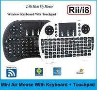 Wholesale 35pcs NEW Portable mini keyboard Rii Mini i8 Wireless Keyboard with Touchpad for PC Pad Google Andriod TV Box DHL