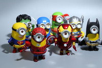 Wholesale 8pcs set Anime The Avengers Superheroes Despicable Me Minion Action Figures Toys Minions Cosplay Toys Kids toys Gifts set