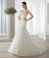 Cheap Tulle Wedding Dresses Sheer Scoop Neckline Embroidery Lace Straps 2015 Mermaid Bridal Gowns Demetrios KR 599 Illusion Back Covered Button
