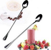 Wholesale Fashion Hot Ice Cream Tea Coffee Handled Long Handle Stainless Steel Spoons Flatware