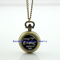 analog science - Science Jewelry E mc2 Pocket Watch Photo Locket Necklace Antique Pocket Watch Necklace WT