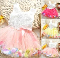 Wholesale New girls gauze dress Rosette princess dress Beautiful girl dress with bowknot Summer hot selling