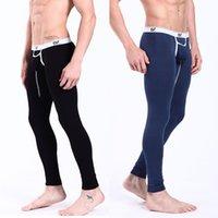 Cheap WJ Fashion Male Sleepwear Penis Pouch Modal Men Long Underwear Man's Thermal Long Johns Pants Body Building Trousers 2008-CKU