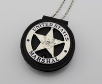 bead hanging light - The United States Federal insignia badge MARSHAL circular special wallet silver surface Metal Badge With Hanging Pad With Beads Chain
