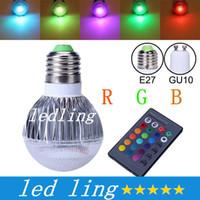 Precio de Focos de colores-Bombilla LED 2015 nueva llegada LED RGB E27 GU10 9W AC85-265V RGB LED de la lámpara con control remoto de múltiples colores LED RGB + CE ROHS
