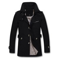 Wholesale 2016 New Brand British Style Single Breasted Long Winter Men Trench Coat Fashion Slim Solid Windbreak Casual Warm Homme Overcoat