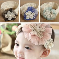 Wholesale 2015 Cute Baby Toddler Girl Cotten Elastic Lace Flower Headdress Hairband Headbands Kids Hair Accessories