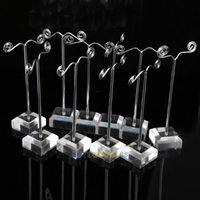 Wholesale LS4G cm T shape Earring Jewelry Display Stand with Transparent Base
