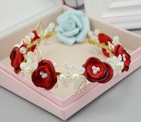 Wholesale Alloy Crystals Pearls Bridal Hair Bands With Red Silk Flowers Sweet Hair Accessories For Women cm