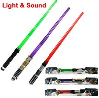 Wholesale Star Wars Lightsaber Weapons Cosplay Sword with Light Sounds PVC Action Figure Toys Christmas Gift for kids star wars plastic lightsaber BY0