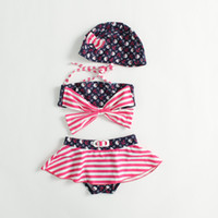 Wholesale Hug Me New Korean Baby Girls Bikini Kids Girl Swimwear Baby Swimsuit Ruffle Bow Princess Three Pieces Swim Cute Clothing BB