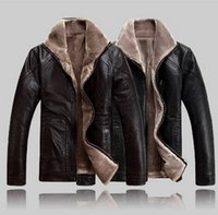 Wholesale Leather Jacket For Large Men - Fall-Winter leather jackets Men Faux Fur Coats male casual motorcycle leather jacket Thicken Outwear Overcoat For Man large size 5XL