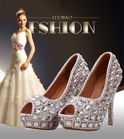 diamond wedding shoes - 2015 new fashion silver bridal wedding shoes crystal diamond women pumps platform peep toe cm sexy high heels plus size hot sales