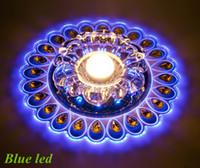 al por mayor lámparas de pavo real-lámpara de techo de cristal LED del envío 3W de entrada de cristal de la lámpara de techo de luz LED de iluminación del pavo real