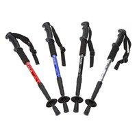 Cheap Hot Walking Stick Telescopic Hiking Stick Anti-shock Anti-skid Trekking Pole Alpenstock 4 Section Ultra-light with Compass