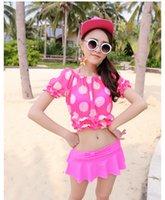 Polka Dot t cups - 2015Chic Push up Swimwear Ladies Padded cup Bathing Bikini Swimsuit Set for Women swimwear tops skirt T shirt