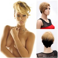 Wholesale Synthetic Wig Rihanna wigs blonde color wigs for women short style RIHANNA1
