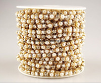 Trims pearl trim - yards cm wide ABS pearl clear crystal rhinestone cup chain trims applique gold plating for garment sewing