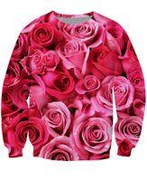 active pink roses - w1217 Pink Roses Crewneck Sweatshirt Valentines Day gift vibrant d Pull Jogging Jumper Women Men Sport Tops Hoodies Sweats Plus Size
